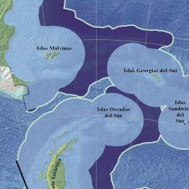 Plataforma continental en el mar austral