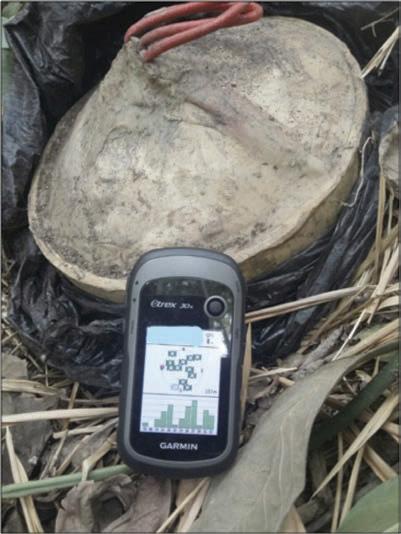 Registro de la ubicación de un artefacto explosivo improvisado mediante GPS, para su posterior destrucción
