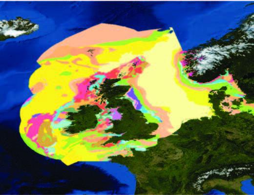 Sedimentos marinos alrededor del Reino Unido