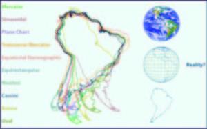 Figura 1: Sudamérica representado a través de distintas proyecciones