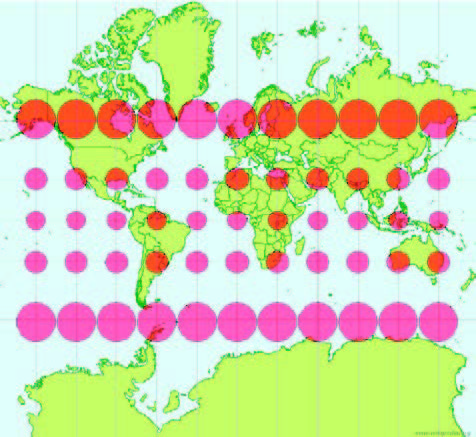 Figura 3: Distorsión generada por la proyección Mercator, considerando que sobre la supercie de la Tierra, todas las circunferencias tendrían la misma área.