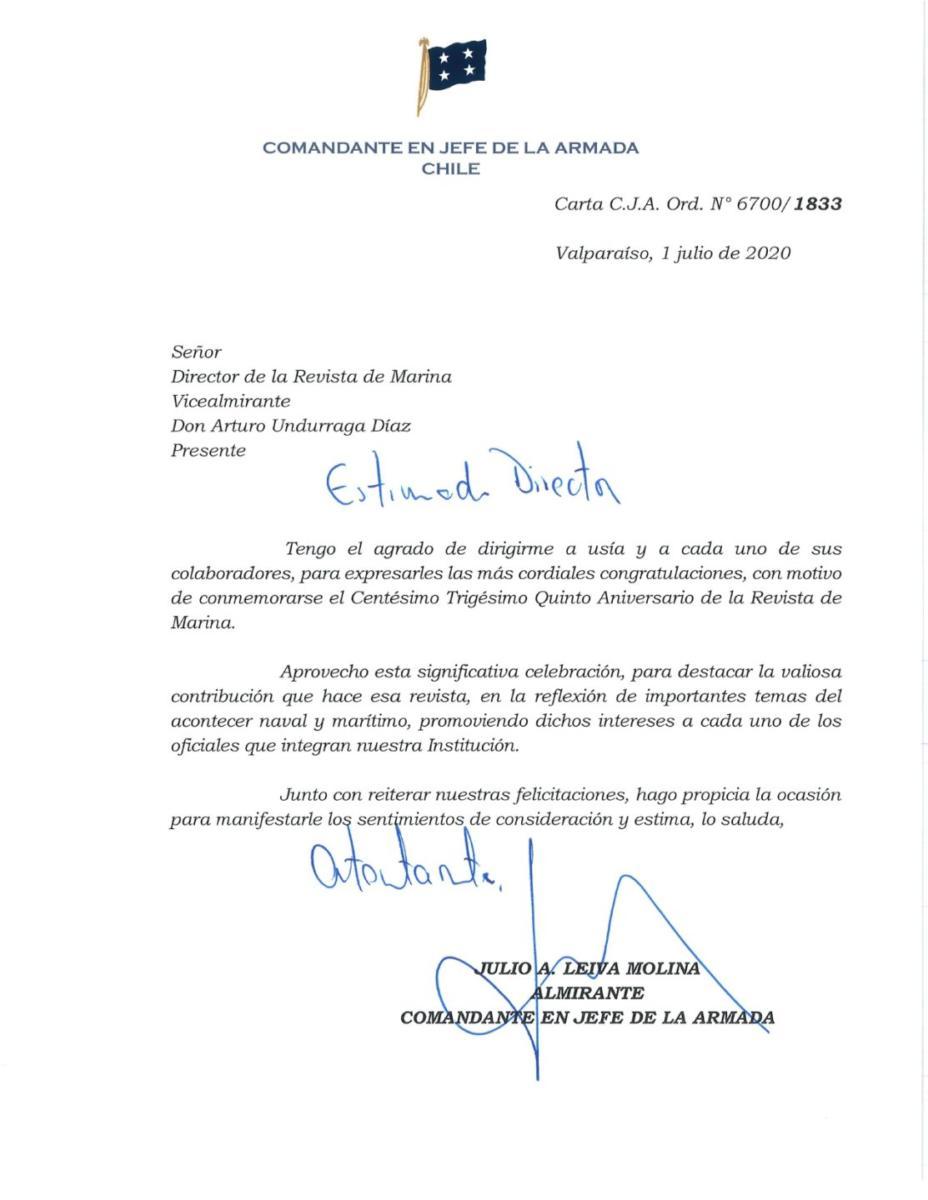 SALUDO C.J.A. ANIVERSARIO REVISTA MARINA
